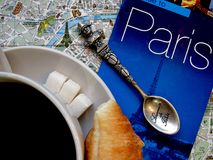 Paris theme. France symbols flat layout background. Symbols of Paris and France in flat layout or background. Cup of coffee with croissants and sugar, Eiffel Royalty Free Stock Photo