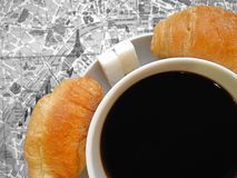Paris theme. France symbols flat layout background. Symbols of Paris and France in flat layout or background. Cup of coffee with croissants, Eiffel tower on a Royalty Free Stock Photo