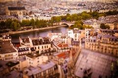 Paris Tilt Shift. Tilt-shift miniature view across rooftops in Paris toward River Seine Stock Photography