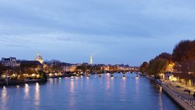 Paris time lapse with pont des arts and eiffel tower view