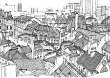 Roofs of Paris from above. Black and white linear graphics, perfect for background in the publication, posters, banners. vector illustration