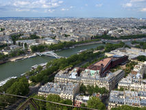 Paris from tour eiffel. A view of Paris from the 3rd floor of the Tour Eiffel, with details on river Senna Royalty Free Stock Image