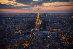Paris, Tour Eiffel, paysage urbain le soir Photos libres de droits