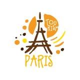 Paris tourism logo template hand drawn vector Illustration Stock Photography