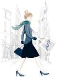Paris - touriste de femme d'achats dans des achats de transport de Montmartre Image stock