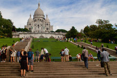 Paris-Touristen bei Montmartre stockfoto
