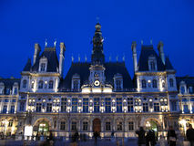 Paris Town Hall at night 01, France. Hotel de Ville (Town Hall) of Paris is a 19th century reconstruction of the old 17th century building which burned down in Stock Photos
