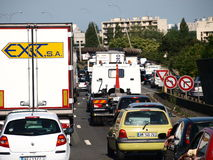 Paris A86 Traffic  jam Royalty Free Stock Photo