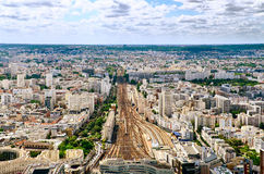 Paris train station areal view Stock Image