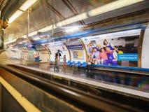 Paris train subway platform with people waiting stock photos