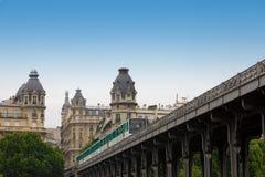 Paris.   Train of underground goes on bridge Stock Image