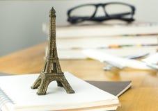 Paris travel blogger desk concept stock image