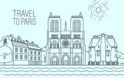 Paris Travel 03 A. Paris cityscape with Notre-Dame de Paris and traditional houses. Beautiful vector illustration in modern style on a light blue background Stock Illustration