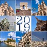 2019 paris travel collage greeting card. 2019, paris travel collage greeting card royalty free stock photo