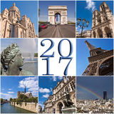 2017 paris travel collage greeting card Royalty Free Stock Photos