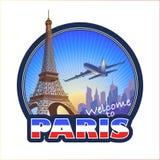 Paris travel emblem 2. Designed Paris travel emblem 2 Royalty Free Stock Photos