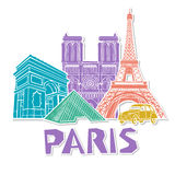Paris travel icon set. Vector. Illustration Royalty Free Stock Photos