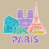 Paris travel icon set. Vector. Illustration Stock Photography