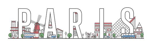 Paris travel lettering in linear style vector illustration