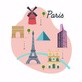 Paris. Travel map and vector landscape of buildings and famous l Royalty Free Stock Image