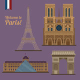 Paris Travel Set. Famous Places - Eiffel Tower, Louvre Royalty Free Stock Photo