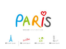 Paris travel set, France, Eiffel tower Royalty Free Stock Images