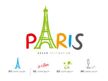 Paris travel set, France, Eiffel tower stock illustration