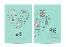 Paris travel tour booklet set in linear style Stock Images