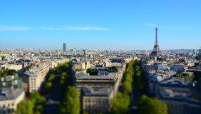 Paris from Triumph Arch. Mosket effect Stock Image