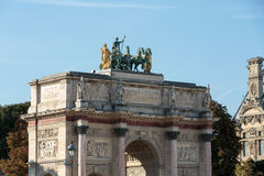 Paris - Triumphal Arch (Arc de Triomphe du Carrousel) at Tuileries Stock Photo
