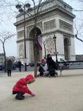 Paris triumphal arch travel europe child Royalty Free Stock Photos