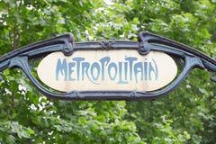 Paris tunnelbana, gammalt gångtunneltecken Royaltyfri Foto
