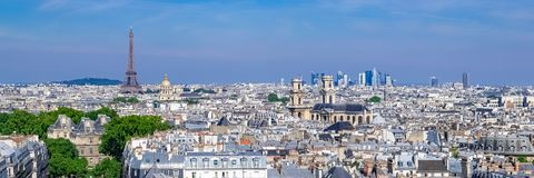 Paris, typical roofs, aerial view. With the Eiffel Tower and the Saint-Sulpice church in background stock photos