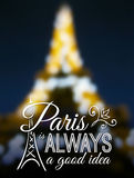 Paris typographic design on blurred Eiffel tower Royalty Free Stock Photos
