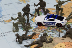 Paris under attack. Concept image using a wold map and toy soldiers to represent the recent attacks in Paris, 11 13 2015 Stock Image