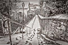 Paris under the snow. Street of Paris under the snow Stock Image