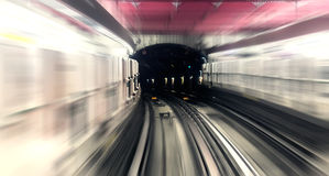 Paris, underground city metro station, rail  motion blur trail Stock Photos