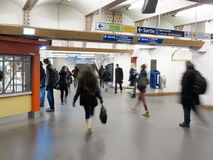 Paris underground traffic. Traffic of people going to work in the underground of paris, the metro de paris Royalty Free Stock Photography