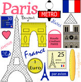 Paris Vector Collection. Collection of Paris Landmark & Object Vectors on Isolated White Background Stock Photography