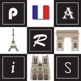 Paris vector 2. Vector illustration of Paris landmarks in a montage Stock Images