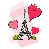 Paris vector illustration. Paris hand drawn vector lettering and Eiffer Tower Royalty Free Stock Photography