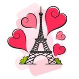 Paris vector illustration. Paris hand drawn vector lettering and Eiffer Tower Stock Photos