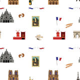 Paris vector seamless pattern hand-drawn landmarks illustration background Royalty Free Stock Images