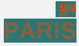 Paris-Vektor-kalligraphische Illustration gefüllt mit Herzen stock abbildung