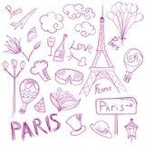 Paris-Vektor-Skizzen-Symbol-Satz lizenzfreie abbildung