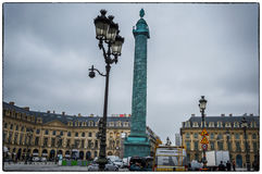 Paris. Vendome Place. The lamps and the column on Vendome Square Royalty Free Stock Photo