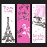 Paris Vertical Banner Set. With hand drawn eiffel tower flowers and coffee isolated vector illustration stock illustration