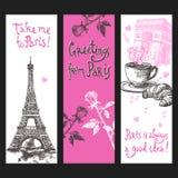 Paris Vertical Banner Set Royalty Free Stock Image