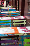 Paris - Very colorful Parisian outdoor cafe Royalty Free Stock Photography
