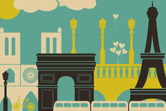 Paris View. Illustration of Paris symbols and landmarks Stock Photography